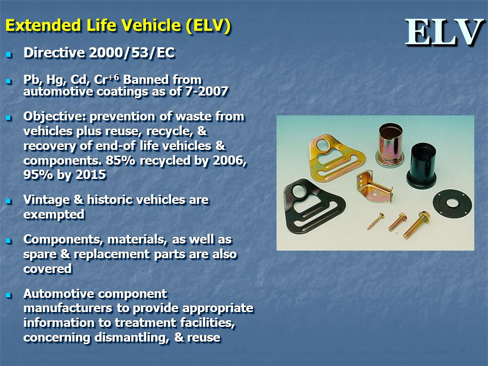 ELVELV Extended Life Vehicle (ELV) Directive 2000/53/EC Directive 2000/53/EC Pb, Hg, Cd, Cr +6 Banned from automotive coatings as of 7-2007 Pb, Hg, Cd, Cr +6 Banned from automotive coatings as of 7-2007 Objective: prevention of waste from vehicles plus reuse, recycle, & recovery of end-of life vehicles & components.