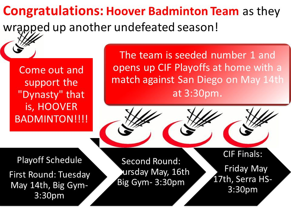Congratulations: Hoover Badminton Team as they wrapped up another undefeated season.