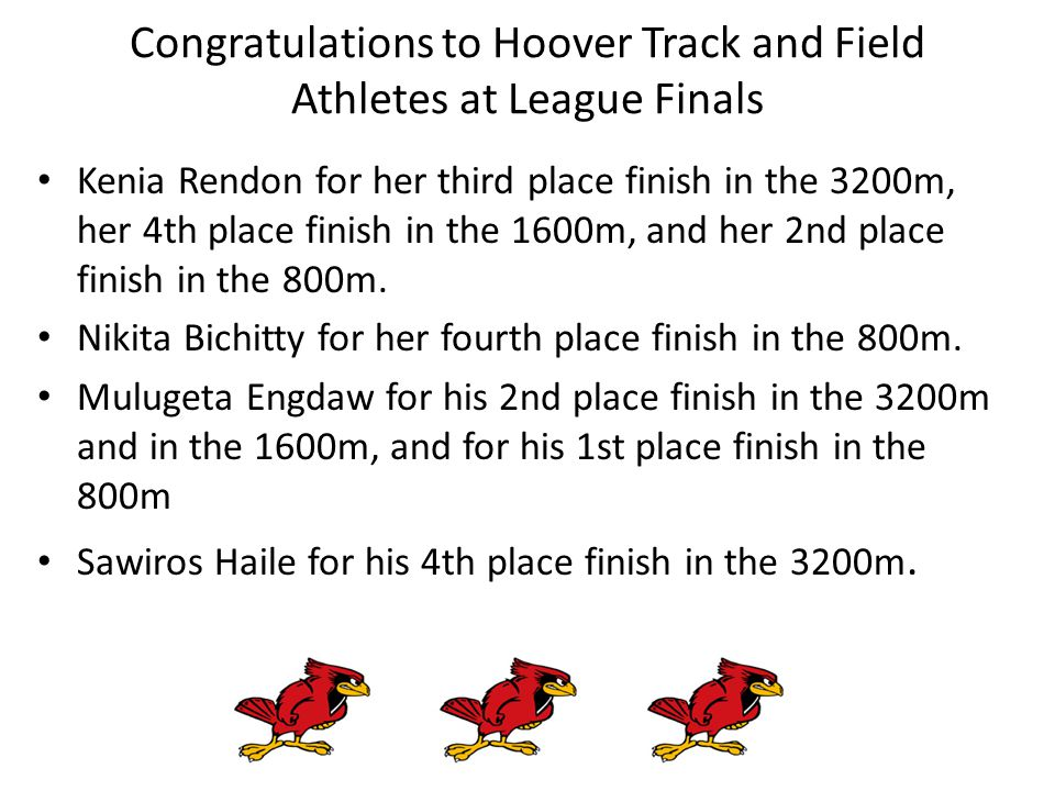 Kenia Rendon for her third place finish in the 3200m, her 4th place finish in the 1600m, and her 2nd place finish in the 800m.