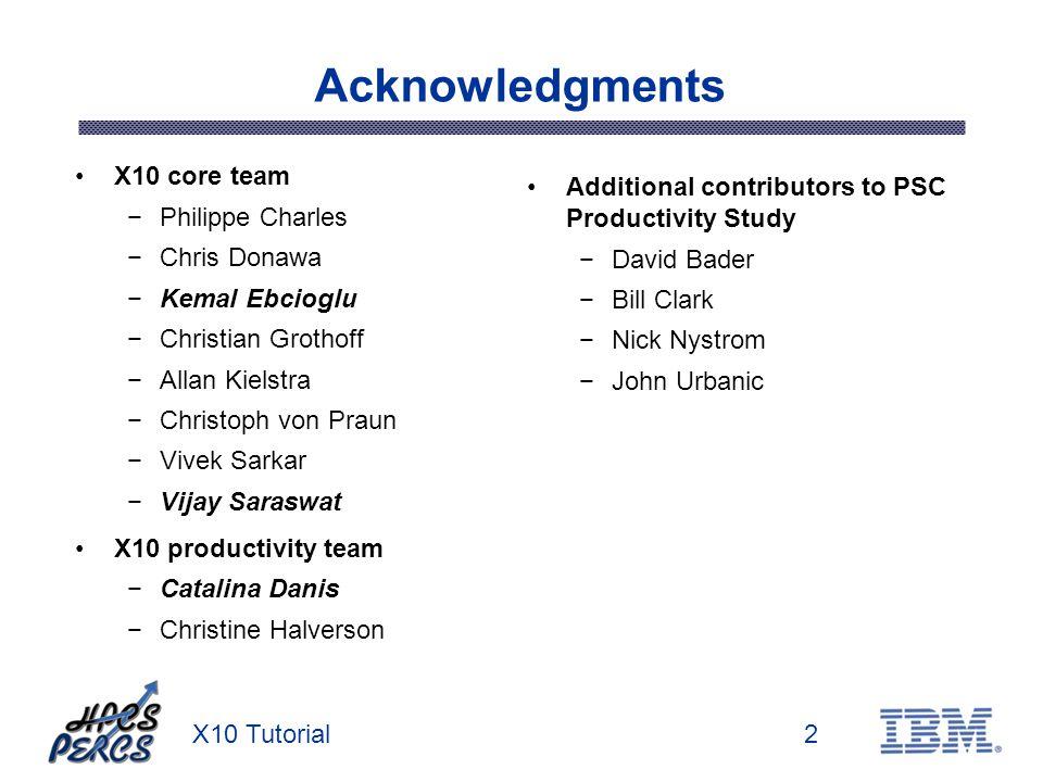 X10 Tutorial2 Acknowledgments X10 core team Philippe Charles Chris Donawa Kemal Ebcioglu Christian Grothoff Allan Kielstra Christoph von Praun Vivek S
