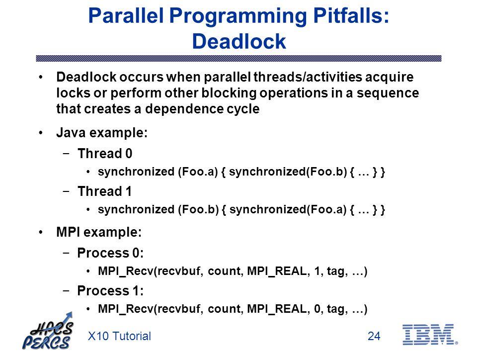 X10 Tutorial24 Parallel Programming Pitfalls: Deadlock Deadlock occurs when parallel threads/activities acquire locks or perform other blocking operat