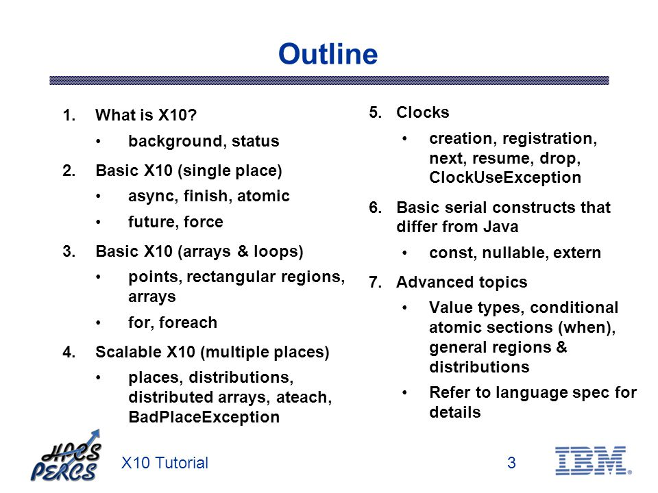 X10 Tutorial3 Outline 1.What is X10? background, status 2.Basic X10 (single place) async, finish, atomic future, force 3.Basic X10 (arrays & loops) po