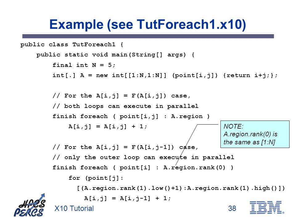 X10 Tutorial38 Example (see TutForeach1.x10) public class TutForeach1 { public static void main(String[] args) { final int N = 5; int[.] A = new int[[1:N,1:N]] (point[i,j]) {return i+j;}; // For the A[i,j] = F(A[i,j]) case, // both loops can execute in parallel finish foreach ( point[i,j] : A.region ) A[i,j] = A[i,j] + 1; // For the A[i,j] = F(A[i,j-1]) case, // only the outer loop can execute in parallel finish foreach ( point[i] : A.region.rank(0) ) for (point[j]: [(A.region.rank(1).low()+1):A.region.rank(1).high()]) A[i,j] = A[i,j-1] + 1; NOTE: A.region.rank(0) is the same as [1:N]