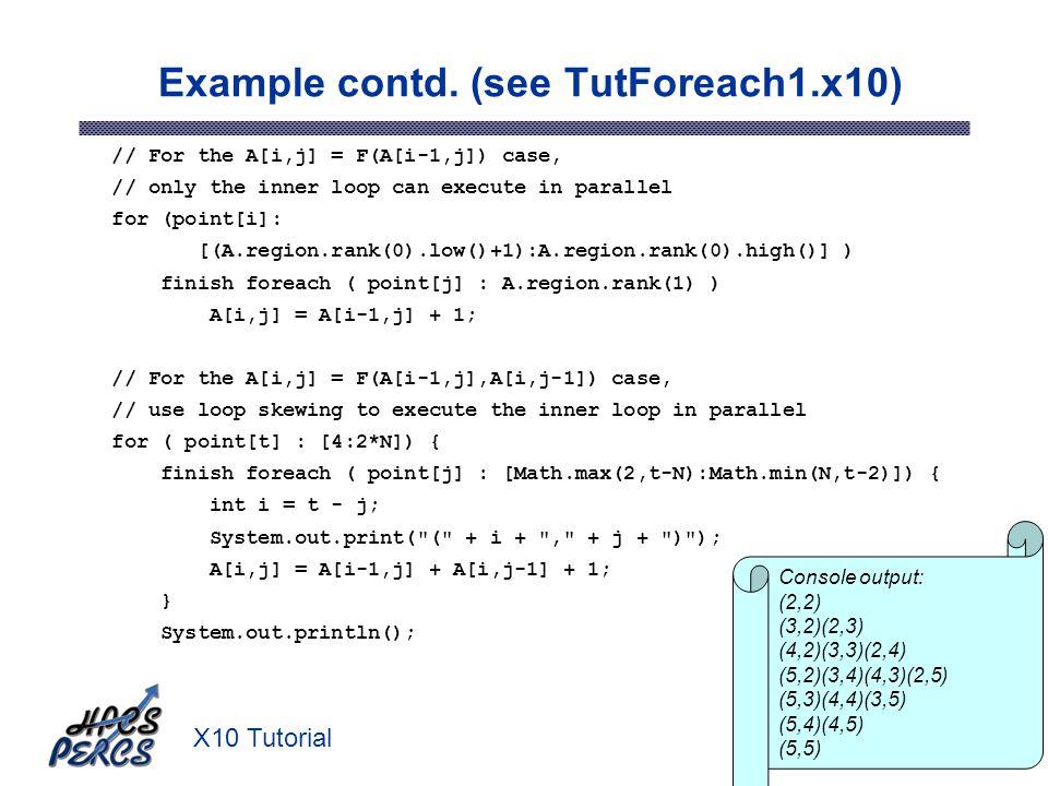 X10 Tutorial39 Example contd.