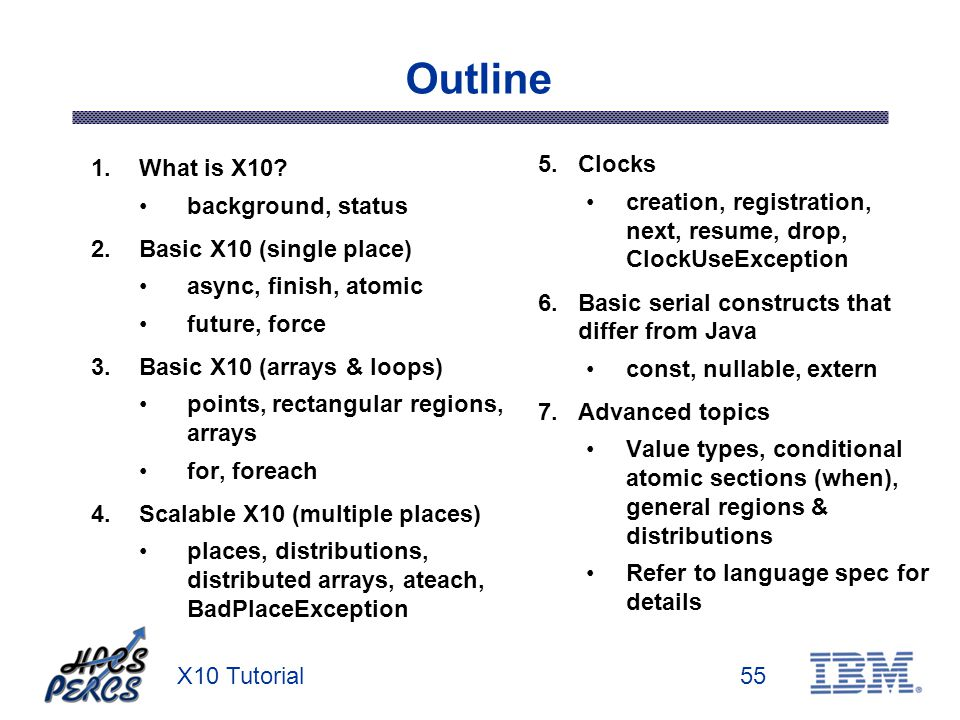X10 Tutorial55 Outline 1.What is X10? background, status 2.Basic X10 (single place) async, finish, atomic future, force 3.Basic X10 (arrays & loops) p
