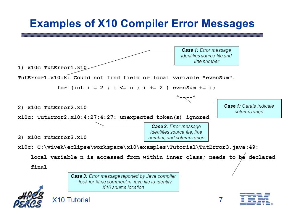 X10 Tutorial7 Examples of X10 Compiler Error Messages 1) x10c TutError1.x10 TutError1.x10:8: Could not find field or local variable evenSum .