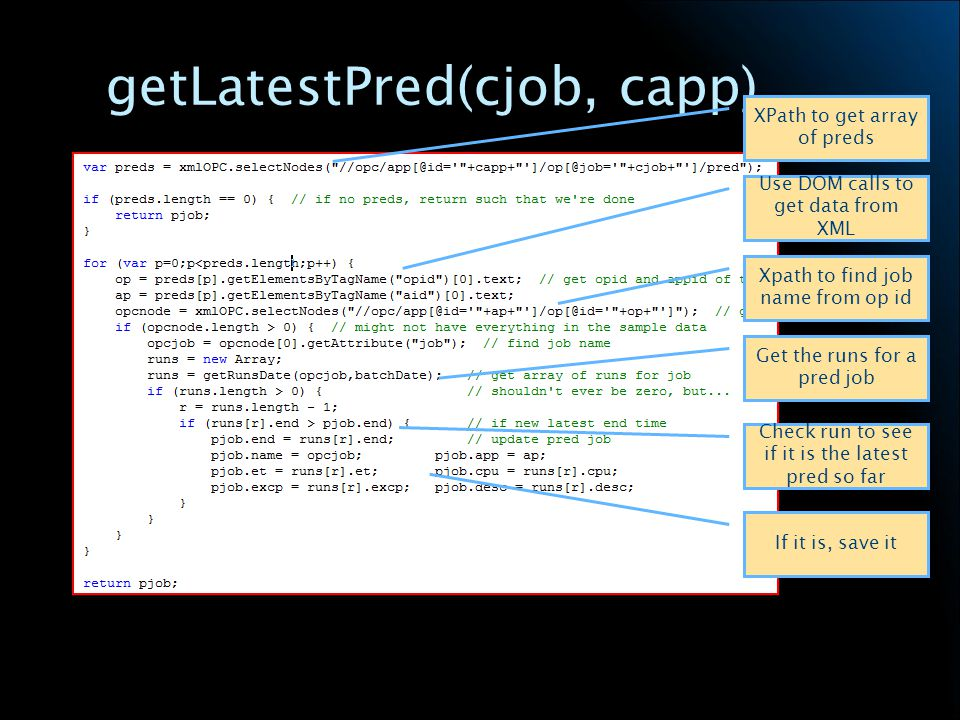 getLatestPred(cjob, capp) XPath to get array of preds Use DOM calls to get data from XML Xpath to find job name from op id Get the runs for a pred job Check run to see if it is the latest pred so far If it is, save it