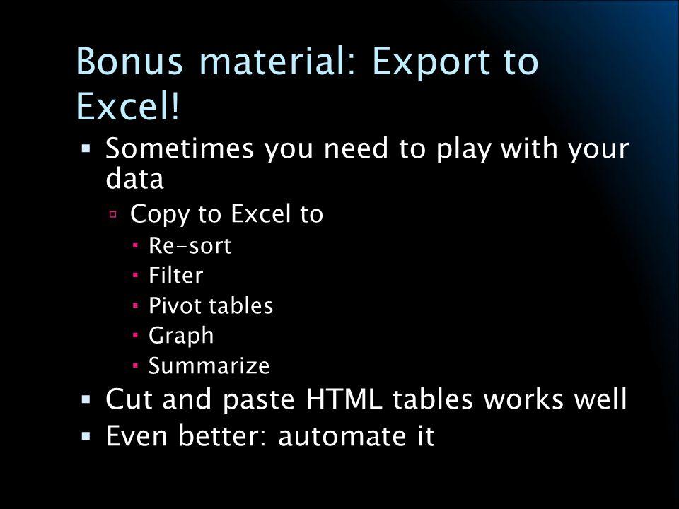 Bonus material: Export to Excel.