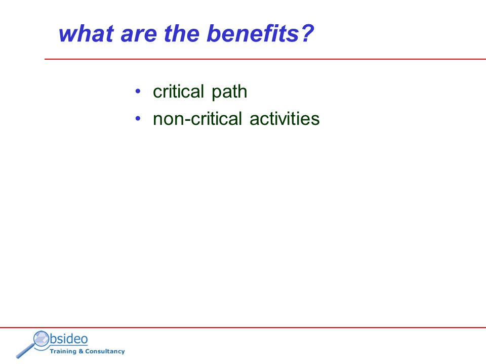 what are the benefits critical path non-critical activities