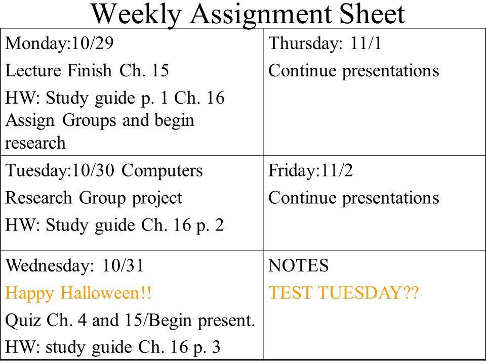 Weekly Assignment Sheet Monday:10/29 Lecture Finish Ch.