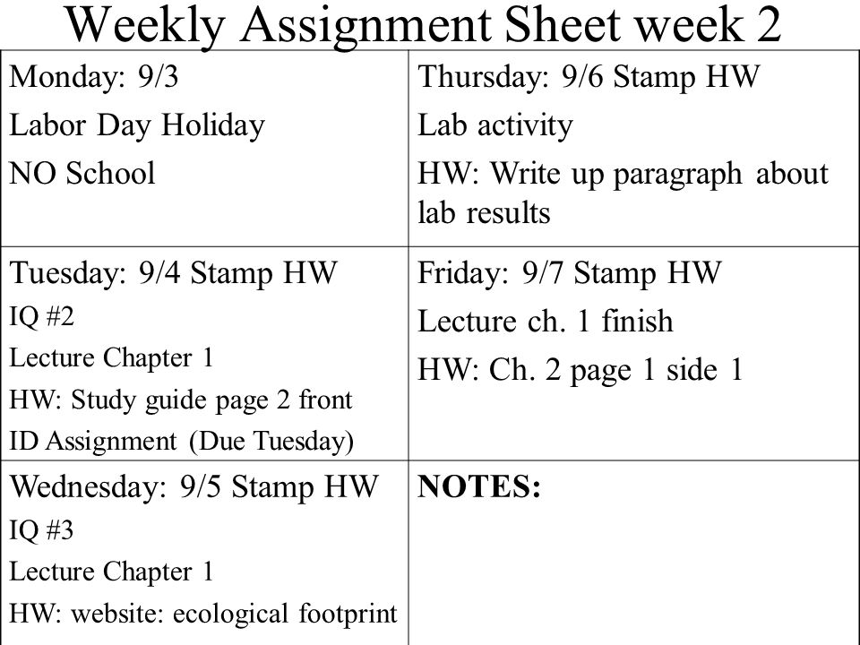 Weekly Assignment Sheet Monday: 4/30 Video: Osmosis Jones Thursday: 5/3 Stamp HW IQ #2 Circulation through heart Lecture 37-1 HW: Study guide p.