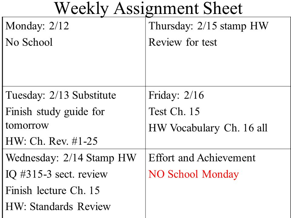 Weekly Assignment Sheet Monday: 2/12 No School Thursday: 2/15 stamp HW Review for test Tuesday: 2/13 Substitute Finish study guide for tomorrow HW: Ch.