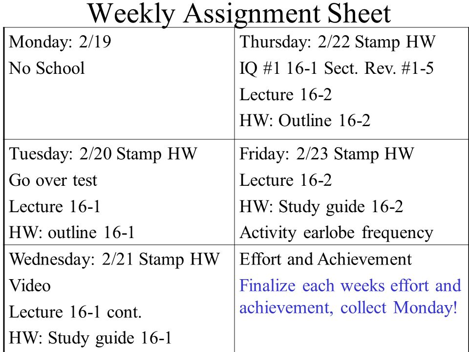 Weekly Assignment Sheet Monday: 2/19 No School Thursday: 2/22 Stamp HW IQ #1 16-1 Sect.