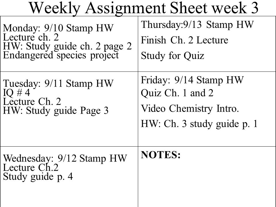 Weekly Assignment Sheet week 3 Monday: 9/10 Stamp HW Lecture ch.