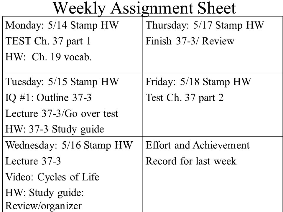 Weekly Assignment Sheet Monday: 5/14 Stamp HW TEST Ch.