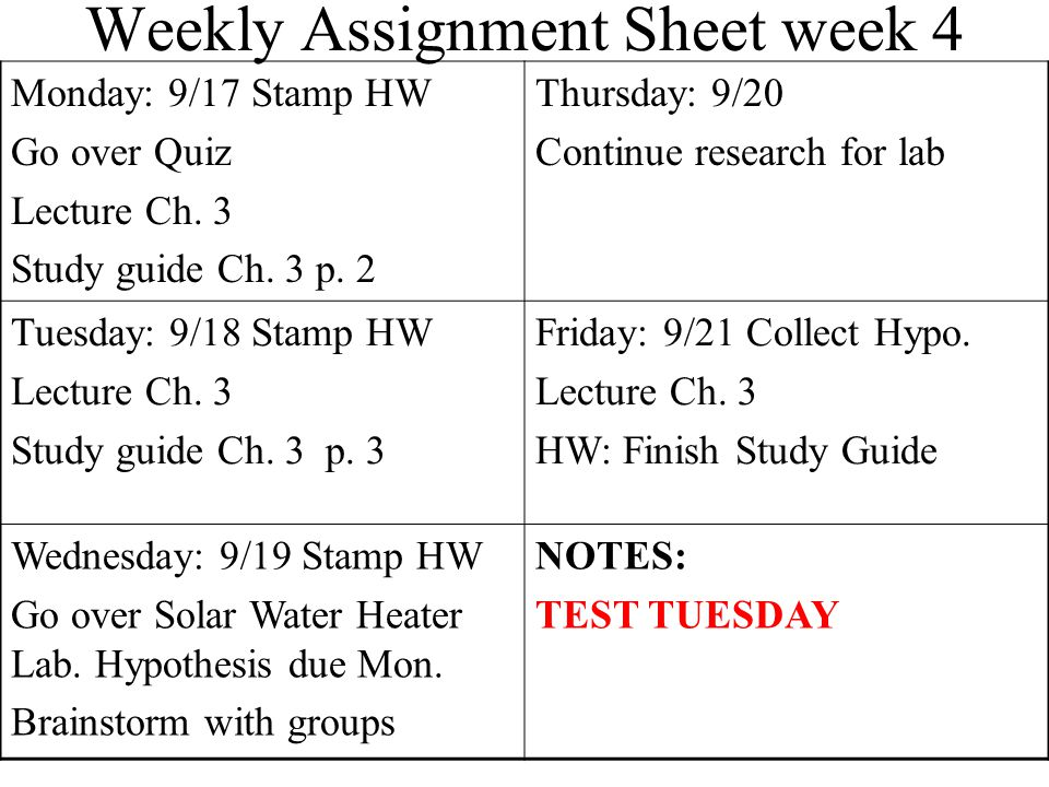 Weekly Assignment Sheet Monday:12/4Thursday:12/7 Tuesday:12/5Friday:12/8 Wednesday:12/6NOTES