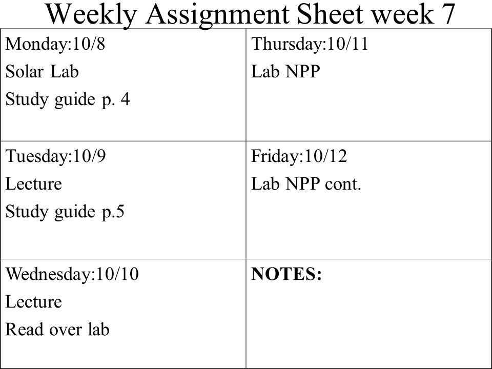 Weekly Assignment Sheet week 7 Monday:10/8 Solar Lab Study guide p.