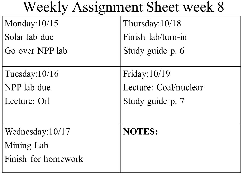 Weekly Assignment Sheet Monday: 6/11 Presentations/REVIEW Thursday: 6/14 FINALS 5, 6 Tuesday: 6/12 FINALS 0, 1, 2 Friday: 6/15 NO SCHOOL HAPPY SUMMER!.