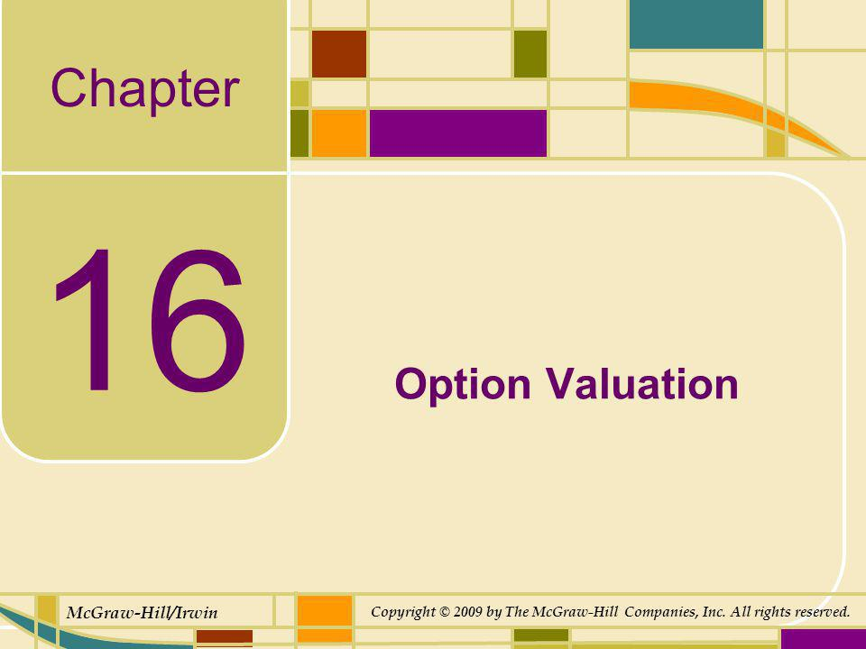 Chapter McGraw-Hill/Irwin Copyright © 2009 by The McGraw-Hill Companies, Inc. All rights reserved. 16 Option Valuation