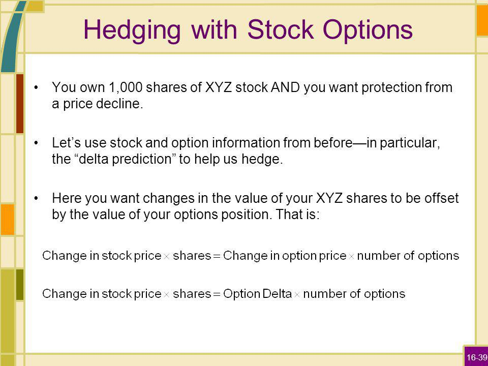 16-39 Hedging with Stock Options You own 1,000 shares of XYZ stock AND you want protection from a price decline.