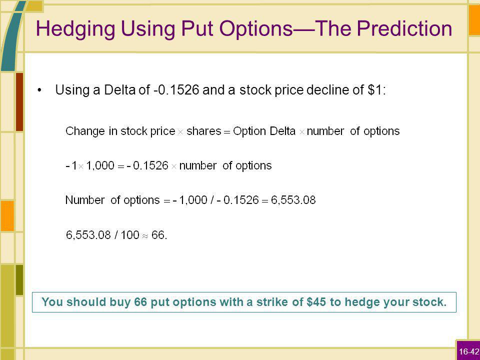 16-42 Hedging Using Put OptionsThe Prediction Using a Delta of and a stock price decline of $1: You should buy 66 put options with a strike of $45 to hedge your stock.