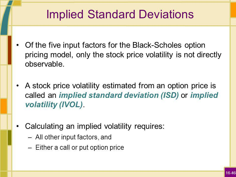 16-46 Implied Standard Deviations Of the five input factors for the Black-Scholes option pricing model, only the stock price volatility is not directly observable.