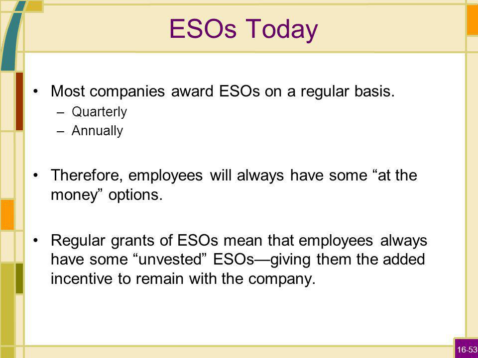 16-53 ESOs Today Most companies award ESOs on a regular basis. –Quarterly –Annually Therefore, employees will always have some at the money options. R