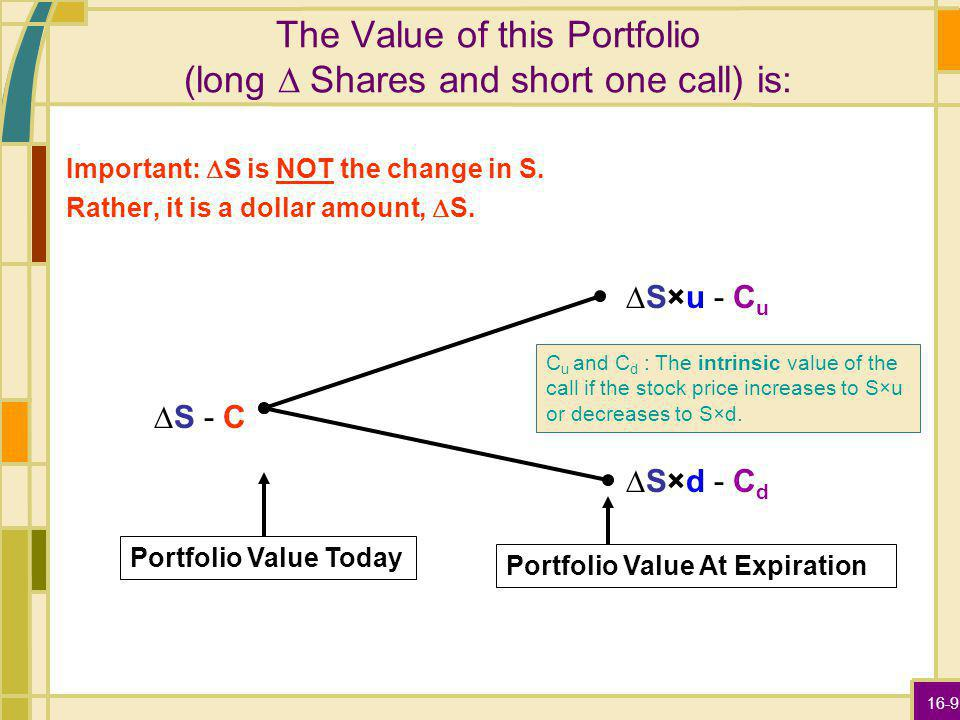 16-9 The Value of this Portfolio (long Shares and short one call) is: Important: S is NOT the change in S. Rather, it is a dollar amount, S. S - C S×u