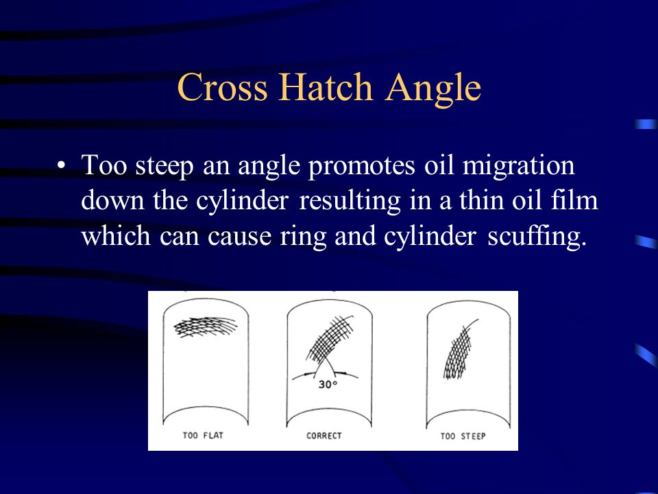 Cross Hatch Angle Too steep an angle promotes oil migration down the cylinder resulting in a thin oil film which can cause ring and cylinder scuffing.