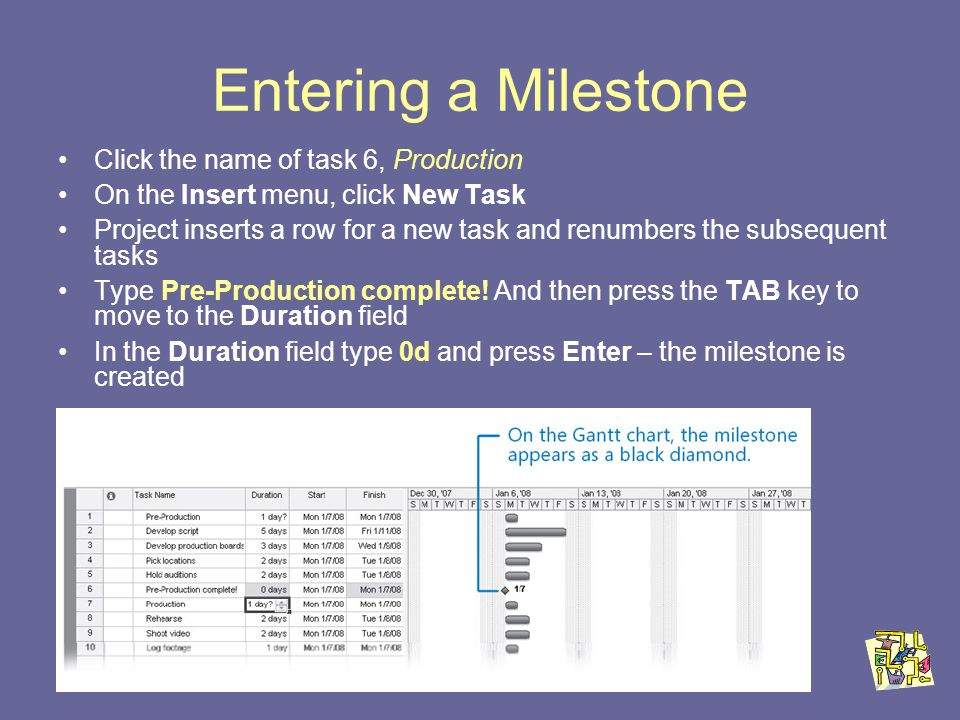 Entering a Milestone Click the name of task 6, Production On the Insert menu, click New Task Project inserts a row for a new task and renumbers the subsequent tasks Type Pre-Production complete.
