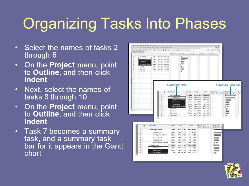 Organizing Tasks Into Phases Select the names of tasks 2 through 6 On the Project menu, point to Outline, and then click Indent Next, select the names of tasks 8 through 10 On the Project menu, point to Outline, and then click Indent Task 7 becomes a summary task, and a summary task bar for it appears in the Gantt chart