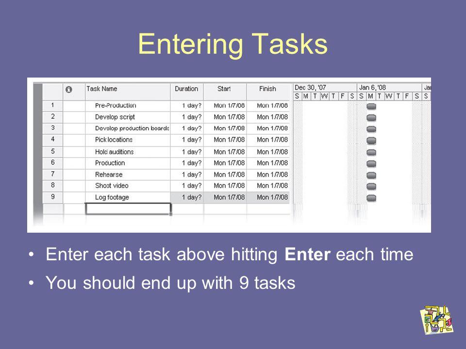 Entering Tasks Enter each task above hitting Enter each time You should end up with 9 tasks