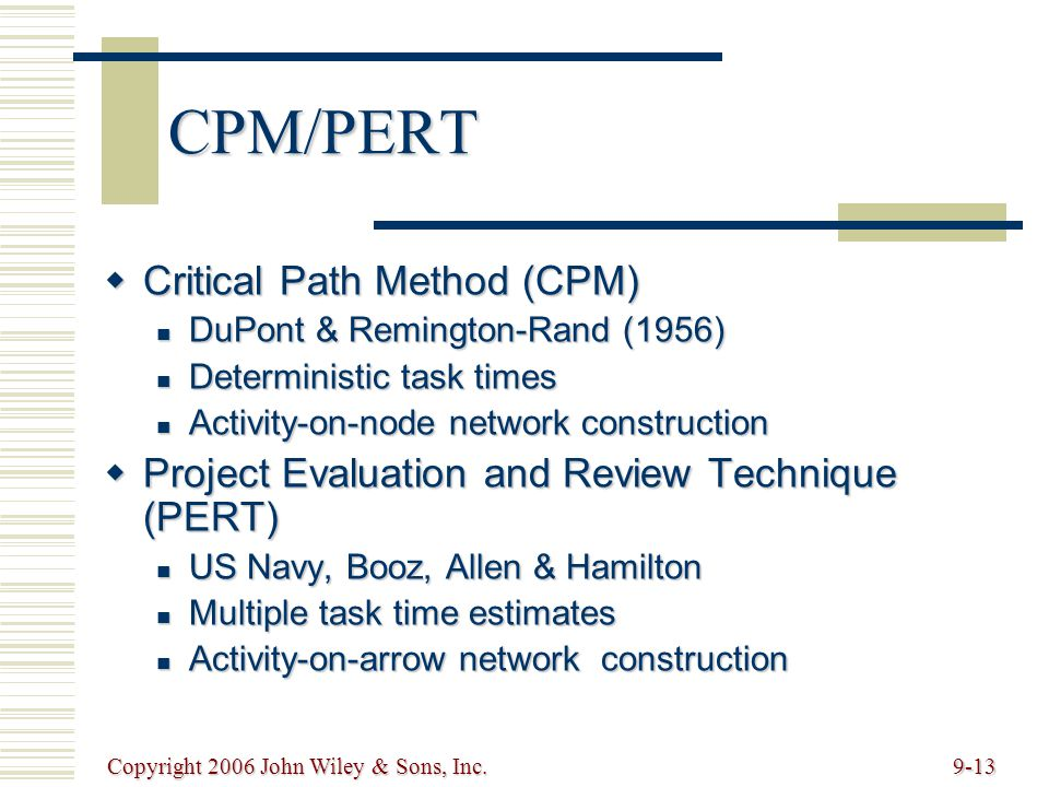 Copyright 2006 John Wiley & Sons, Inc.9-13 CPM/PERT Critical Path Method (CPM) Critical Path Method (CPM) DuPont & Remington-Rand (1956) DuPont & Remington-Rand (1956) Deterministic task times Deterministic task times Activity-on-node network construction Activity-on-node network construction Project Evaluation and Review Technique (PERT) Project Evaluation and Review Technique (PERT) US Navy, Booz, Allen & Hamilton US Navy, Booz, Allen & Hamilton Multiple task time estimates Multiple task time estimates Activity-on-arrow network construction Activity-on-arrow network construction