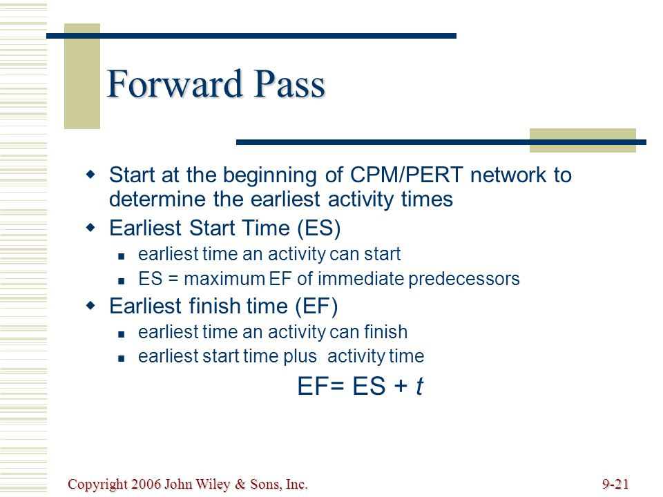 Copyright 2006 John Wiley & Sons, Inc.9-21 Forward Pass Start at the beginning of CPM/PERT network to determine the earliest activity times Earliest Start Time (ES) earliest time an activity can start ES = maximum EF of immediate predecessors Earliest finish time (EF) earliest time an activity can finish earliest start time plus activity time EF= ES + t