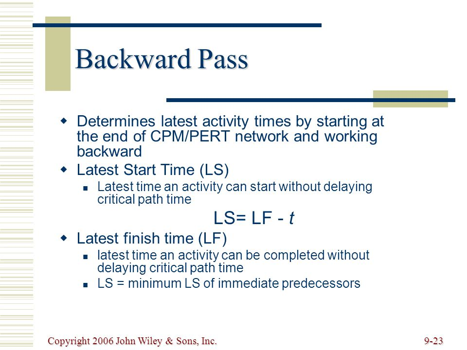 Copyright 2006 John Wiley & Sons, Inc.9-23 Backward Pass Determines latest activity times by starting at the end of CPM/PERT network and working backward Latest Start Time (LS) Latest time an activity can start without delaying critical path time LS= LF - t Latest finish time (LF) latest time an activity can be completed without delaying critical path time LS = minimum LS of immediate predecessors