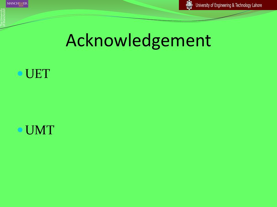Acknowledgement UET UMT