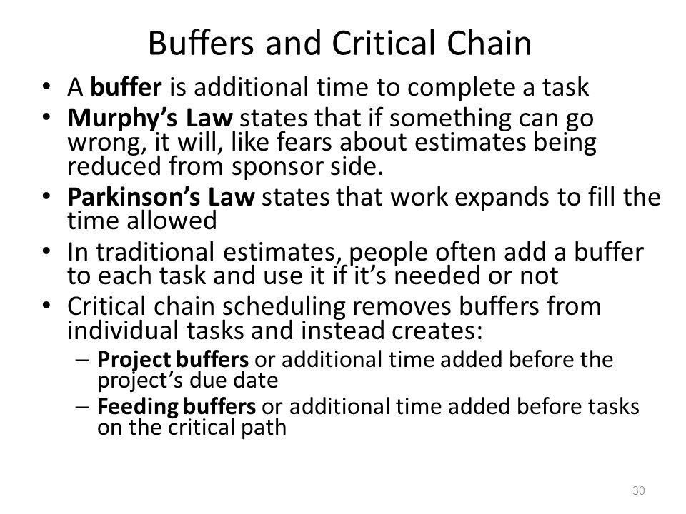 Buffers and Critical Chain A buffer is additional time to complete a task Murphys Law states that if something can go wrong, it will, like fears about estimates being reduced from sponsor side.