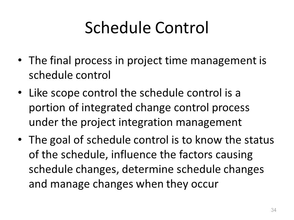 Schedule Control The final process in project time management is schedule control Like scope control the schedule control is a portion of integrated c