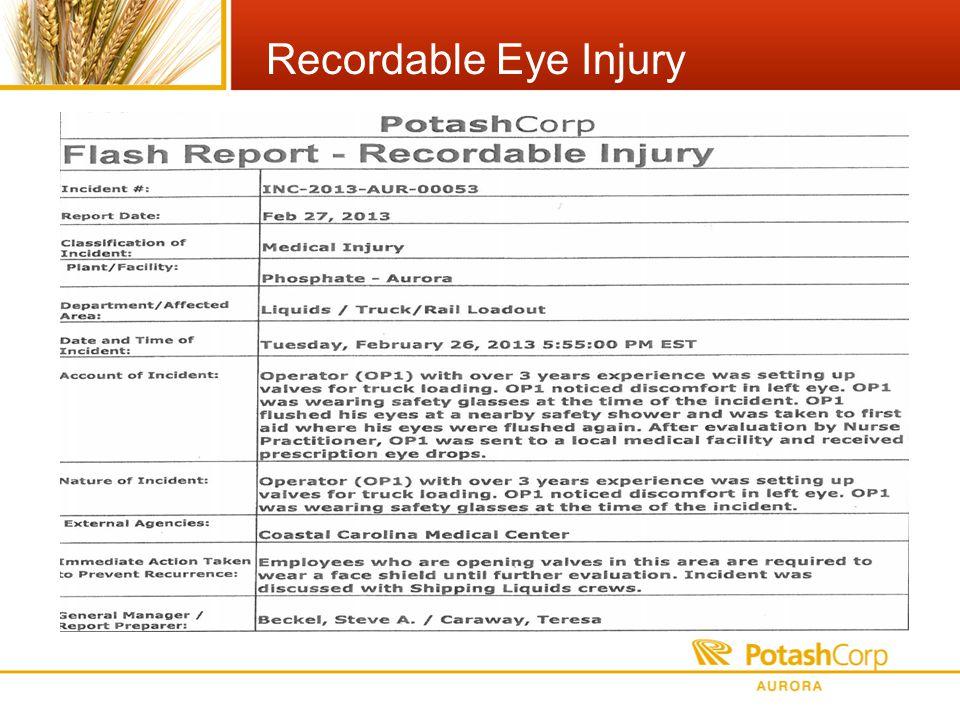 Recordable Eye Injury