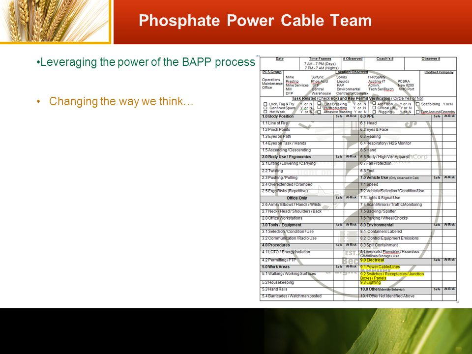 Changing the way we think… Leveraging the power of the BAPP process Phosphate Power Cable Team