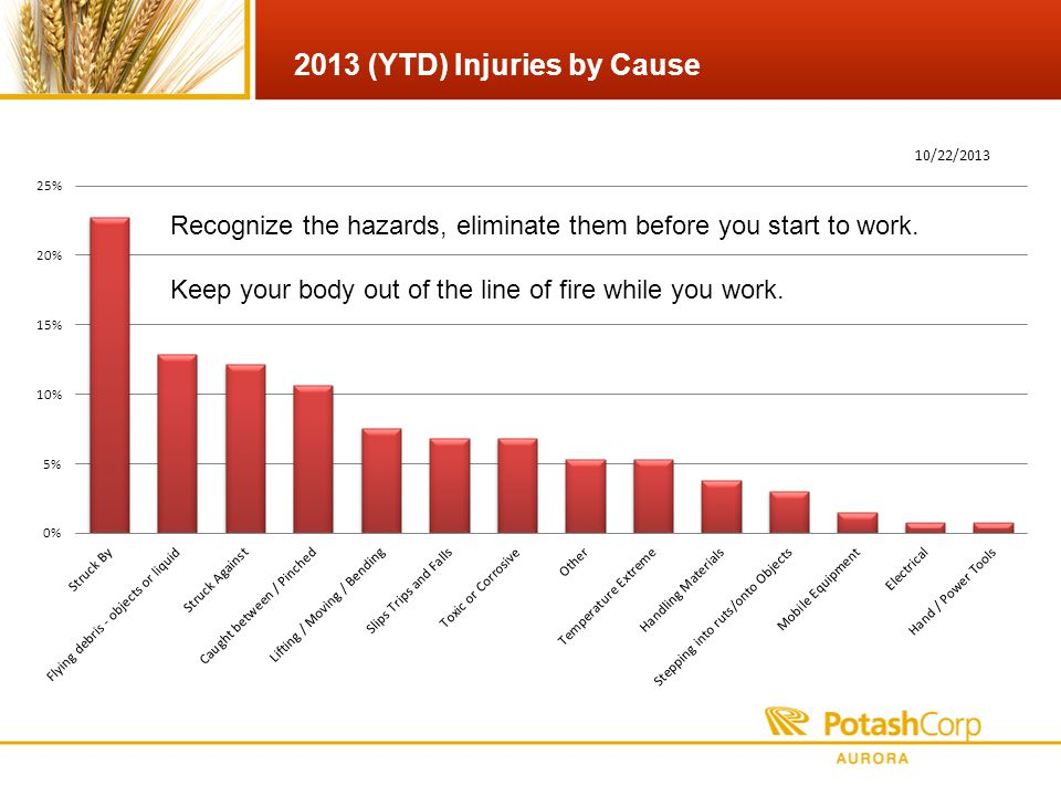 2013 (YTD) Injuries by Cause Recognize the hazards, eliminate them before you start to work.