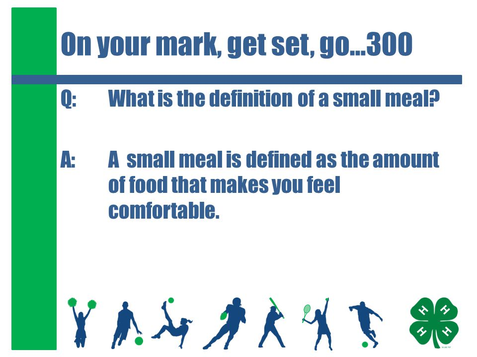 On your mark, get set, go…400 Q:How many hours before a competition do you want to be finished eating.