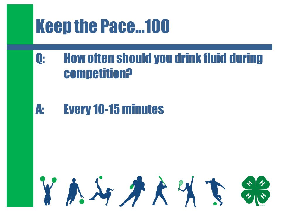 Keep the Pace…200 Q:For endurance sports lasting greater than 60 minutes, what should you eat or drink.