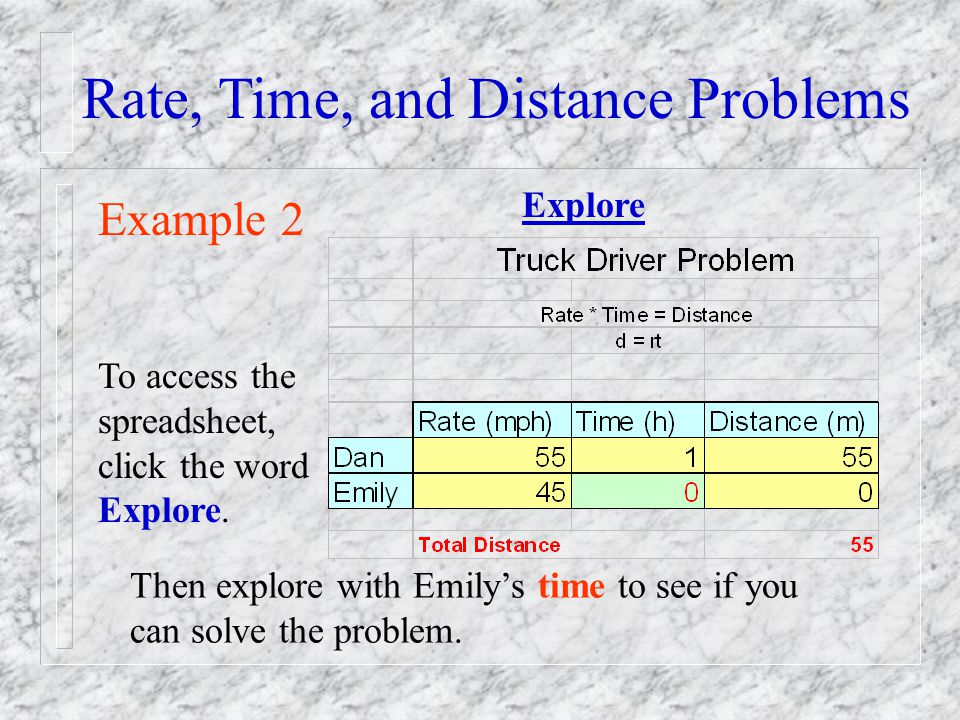 Rate, Time, and Distance Problems Example 2 To access the spreadsheet, click the word Explore. Then explore with Emilys time to see if you can solve t