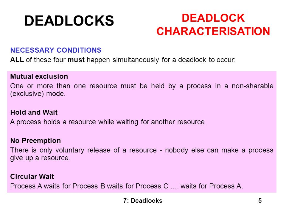 7: Deadlocks26 In this section we have: Looked at necessary conditions for a deadlock to occur.