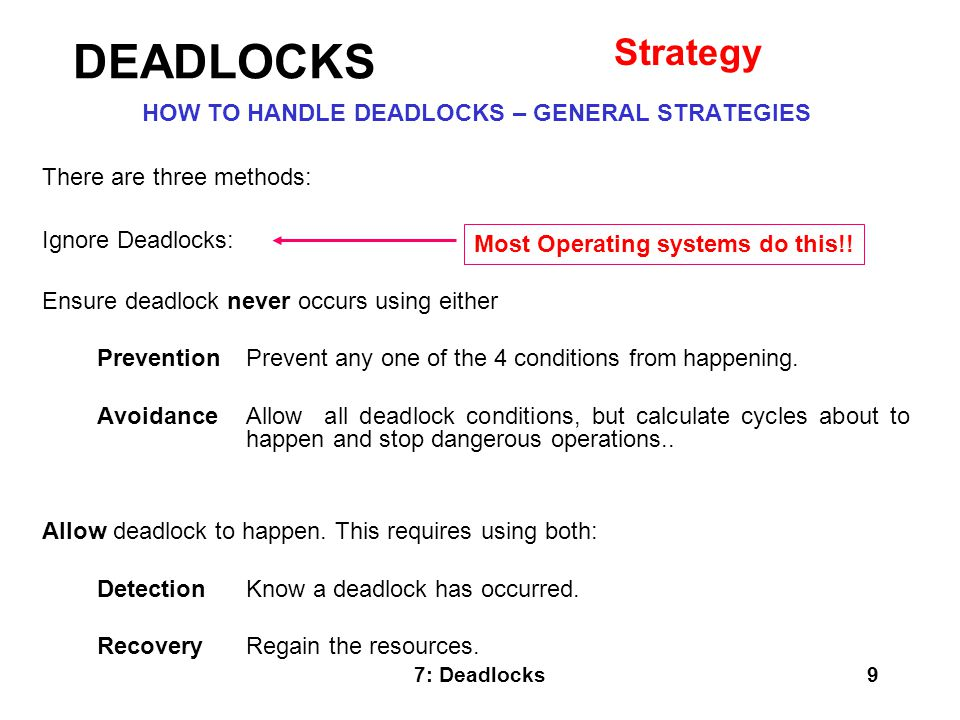 7: Deadlocks20 SEVERAL INSTANCES OF A RESOURCE TYPE Complexity is of order m * n * n.