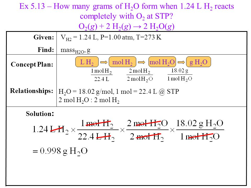 Ex 5.13 – How many grams of H 2 O form when 1.24 L H 2 reacts completely with O 2 at STP.