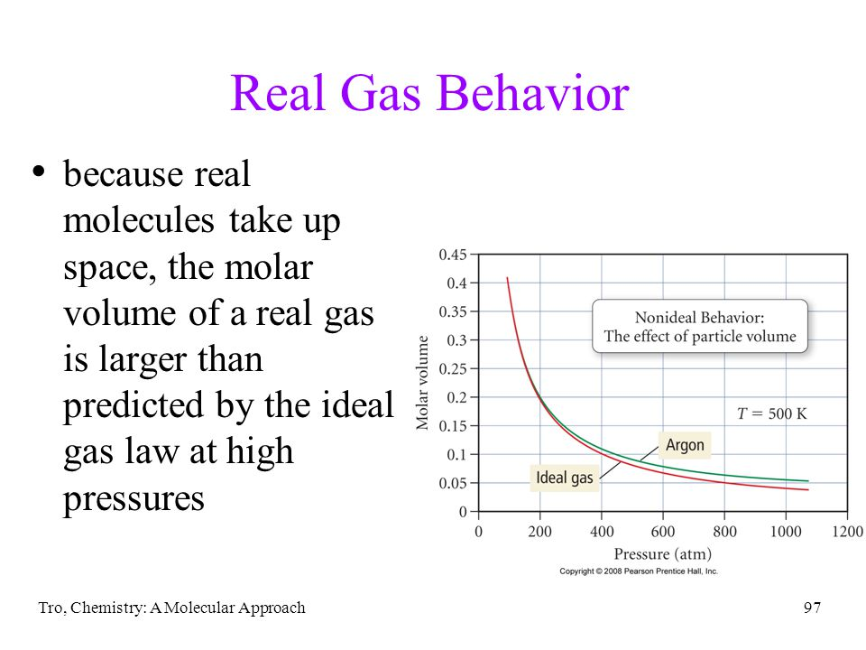 Tro, Chemistry: A Molecular Approach97 Real Gas Behavior because real molecules take up space, the molar volume of a real gas is larger than predicted by the ideal gas law at high pressures