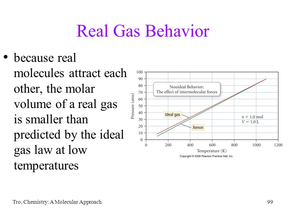 Tro, Chemistry: A Molecular Approach99 Real Gas Behavior because real molecules attract each other, the molar volume of a real gas is smaller than predicted by the ideal gas law at low temperatures