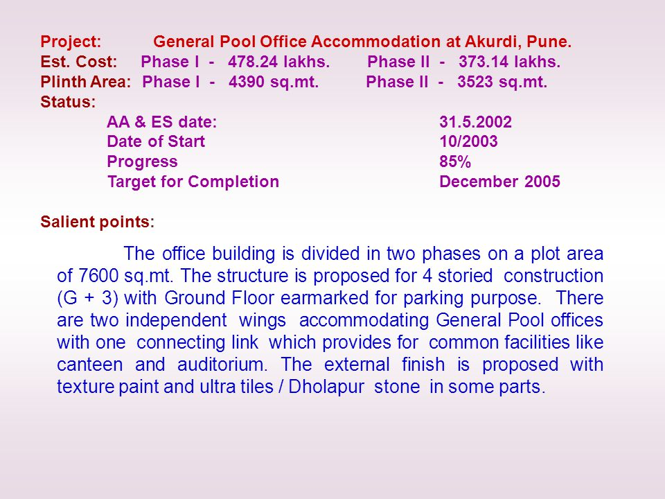 The office building is divided in two phases on a plot area of 7600 sq.mt.